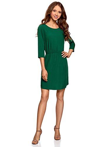 oodji Ultra Damen Viskose-Kleid mit 3/4-Arm, Grün, DE 40 / EU 42 / L