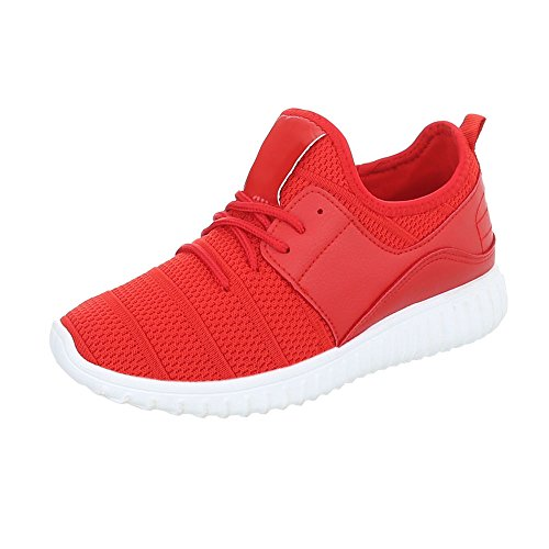 Sneakers Ital-design Basse Sneakers Da Donna Sneakers Basse Lacci Scarpe Casual Rosse An1031
