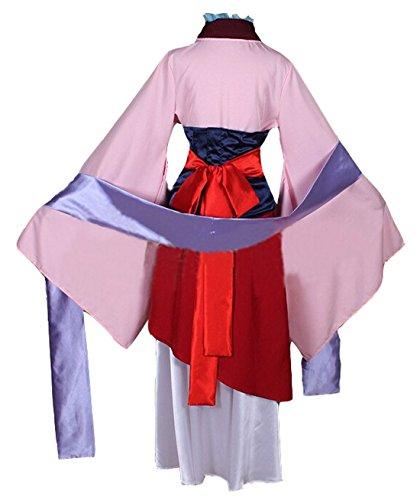 in Hua Mulan Coslay Kostüm Rosa Halloween Kleidung Kimono (L) (Kimono Kostüm Halloween)