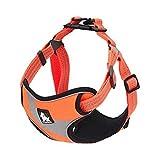 Yangmg Hundegeschirr Weste reflektierende Streifen einstellbar atmungsaktiv Nylon Haustiere Hunde weich gepolsterte Brust Sicherheitsgurt (Color : Orange, Size : M)