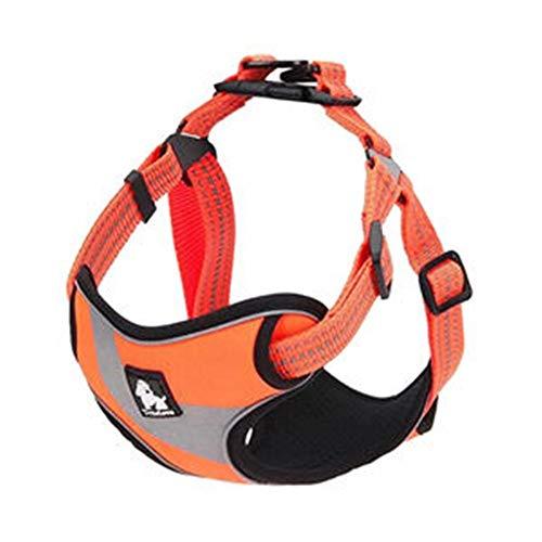 Yangmg Hundegeschirr Weste reflektierende Streifen einstellbar atmungsaktiv Nylon Haustiere Hunde weich gepolsterte Brust Sicherheitsgurt (Color : Orange, Size : M) -
