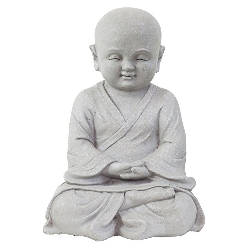 Buddha Meditieren (Garten Deko Figur Shaolin Mönch Buddha Meditieren Stein Effekt in Grau - 42cm Hoch)