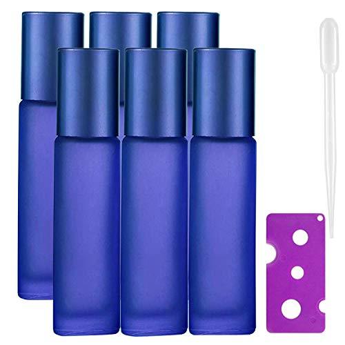 JamHooDirect Rollflaschen, 10 ml, für ätherische Öle, leer, nachfüllbar, mattiertes Blau, mit Edelstahl-Rollen, 1 Öffner und 1 Tropfer, perfekt für Aromatherapie, Parfüm, 6 Stück