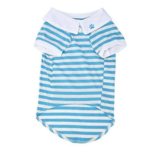Neue Nette Hund T-Shirt ❤️ Kleidung Revers Streifen Baumwolle Welpen Hund Kleidung Sommer Frühling Heißer (Blau, XS) -