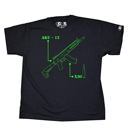 Nicram Designs Herren Rundhalsausschnitt T-Shirt - BLACK + Green Logo