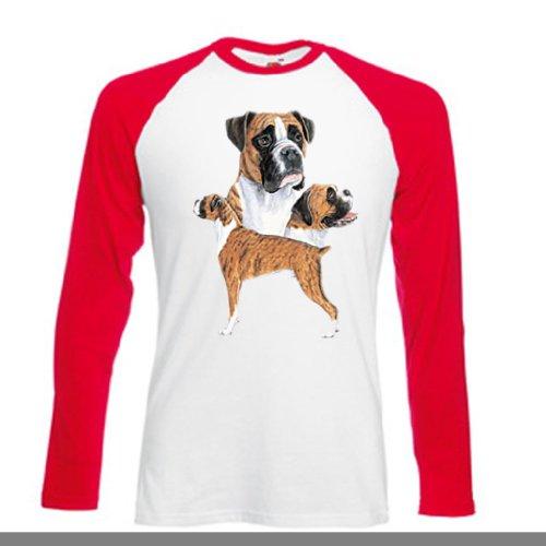 Hund Long Sleeve Tee (Einfach Tees Boxer Hund Drei Ansichten Erwachsene Long Sleeve Baseball T-Shirt Gr. XXL, Weiß/Rot)