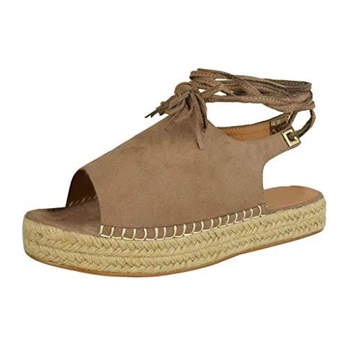Damen Espadrilles Cool Sandalen, LeeMon Frau Mode Knöchelriemen dicken unteren Sandalen Plattform Retro Peep Toe Sandalen -