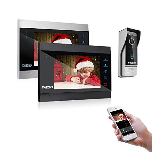 TMEZON WLAN Video Türsprechanlage Türklingel Gegensprechanlage System, 7 Zoll WLAN Monitor mit Verdrahteter Kamera im Freien(2M1C) Für 1-Familienhaus, Fernbedienung Türöffner und App