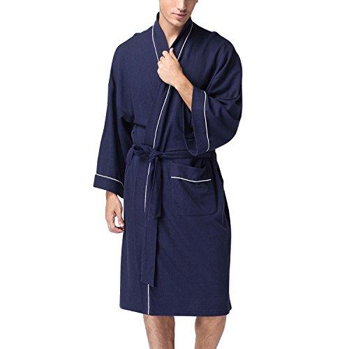 Dolamen Unisex Damen Herren Morgenmantel Bademäntel, Weich u. Leicht Baumwolle Waffelpique Nachtwäsche Nachthemd Robe Negligee locker Schlafanzug, für Spa Hotel Sauna (X-Large, Dunkelblau)