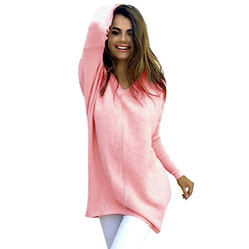 (JiaMeng Damen Winter Pullover, Damen Sexy Langarm Pullover Winter Schlank Lässige Jumper Mantel Bluse (Rosa, S))