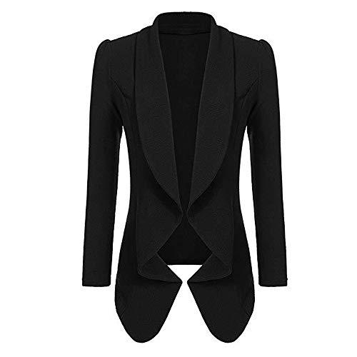 Geili Damen Blazer Anzug Elegante OL Stil Langarm Einfarbige Anzugjacke mit Stehkragen Frauen Oversized Slim Fit Asymmetrisch Kurzblazer Mantel Jacke Oberteil Coat für Business Büro