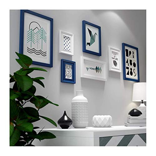 Haus Galerie (Q-K 7 Stücke Hause Bilderrahmen Collage, Holz Hause Bilderrahmen Kombination Familie Praktische Foto Galerie Rahmen Gesetzt Sofa Hintergrund Dekoration 62,6 * 23,2 Zoll, Blau)