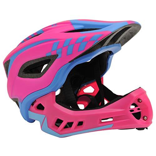 Kiddimoto 2-in-1 Fahrradhelm für Kinder, Jungen und Erwachsene MTB, BMX, Dirtbike, Skateboard mit abnehmbarer Kinnschutz, Rosa/Blau klein
