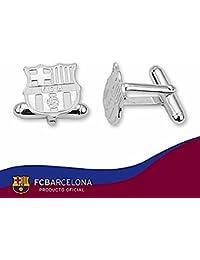 Gemelos escudo F.C. Barcelona Plata de ley lisos [6914] - Modelo: 10-059-L
