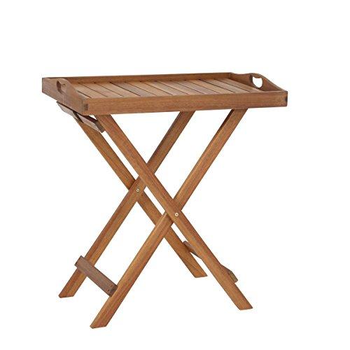 greemotion Table Pliante d'appoint Borkum - Table d'appoint de Jardin en Acacia – Desserte Bois Pliante pour l'extérieur – Plateau Repas Bois Amovible – Desserte de Table Pliable et résistante