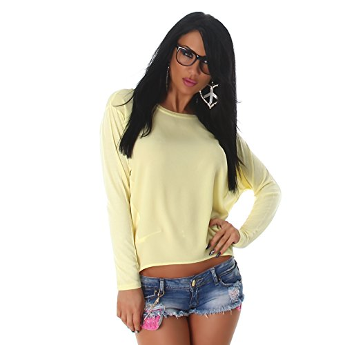 Damen Top Shirt T-Shirt Pulli Sweater Fledermaus Langarm Oberteil Hemd Gelb