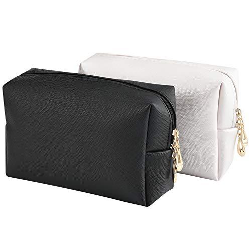 INSOUR Kosmetiktaschen, 2 Stück Tragbare Kulturbeutel Kleine Schminktasche Makeup Tasche mit Reißverschluss für Handtasche (Schwarz + Weiß) -