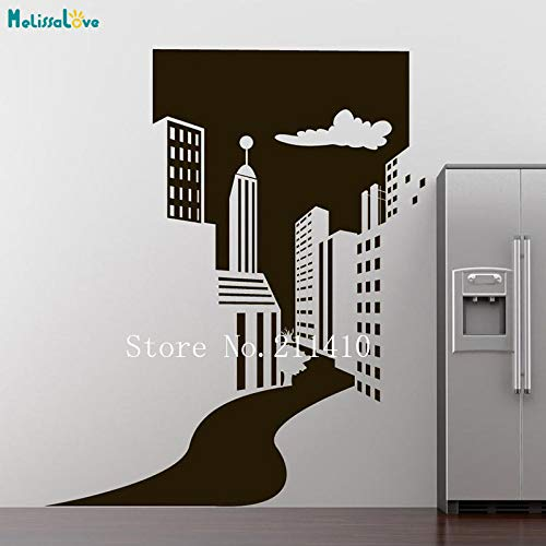 zhuziji Cool Wall Sticker City Doorway Wallpaper Sticker Home Decor per Soggiorno Camera da Letto autoadesiva Vinile Decalcomanie di Arte murale Rosso L 84x101cm