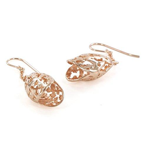 6 - Lily Morgane-Pendientes, diseño de Campanilla de latón de dodecaebro chapado en oro fino, color rosa coral
