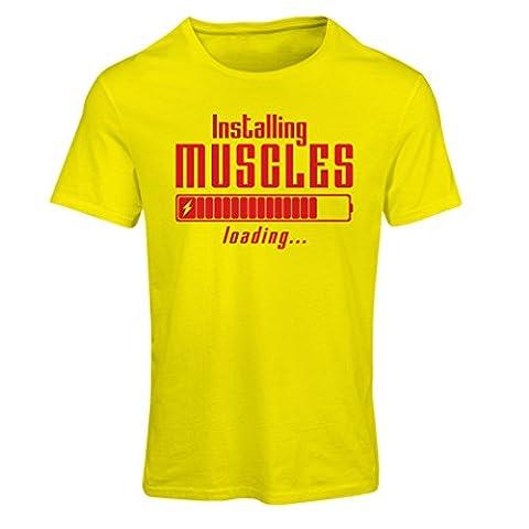 T-shirt femme Vêtements musculaires - pour musculaires, design vintage, vêtements de fitness (Large Jaune Rouge)