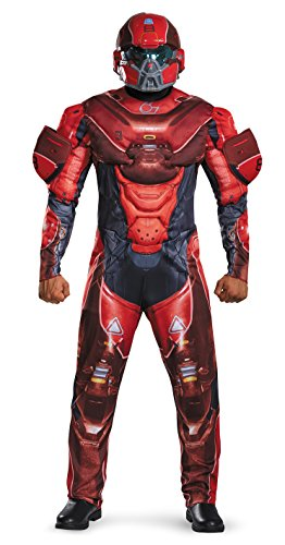 Disguise Men's Halo Spartan Muscle Costume, Red, (Kostüm Halo Spartan Red)