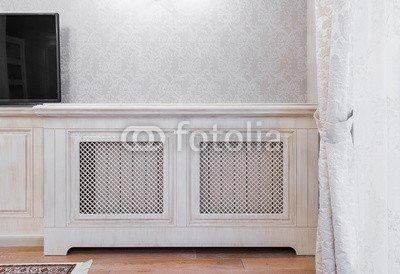 "Alu-Dibond-Bild 130 x 90 cm: ""Wooden cover radiator"", Bild auf Alu-Dibond"