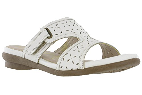 Femmes Gluv Cuir Orlando Confort Bout Ouvert Sandales À Enfiler Chaussures À Velcro 4-8 UK Blanc