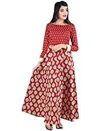 ANAYNA Women's Cotton Printed Anarkali Kalidar Long Dress(Red)