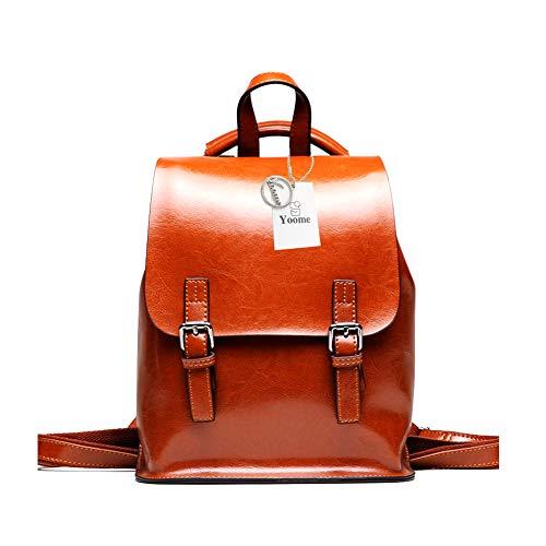 Yoome Vintage Öl-Wachs Leder Rucksack Multifunktions Geldbörse für Frauen Schultasche für Mädchen Reisen Bga Khaki