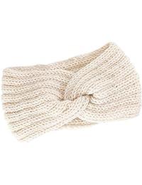 Dinglong Nœud Bandeau Hiver à Couleur Pure Laine Tricotée Tete Cheveux  Femme Crochet Hiver Chaud Noué c1e530290b5