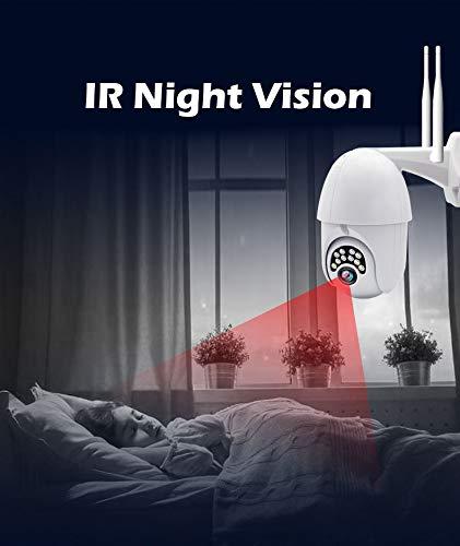 PTZ Kamera Aussen WLAN IP Dome Überwachungskamera 1080P Pan 320°/ Tilt 90°, Zwei Wege Audio, APP Alarm, IR Nachtsicht, Bewegungserkennung, IP66 Wasserdicht, Fernzugriff