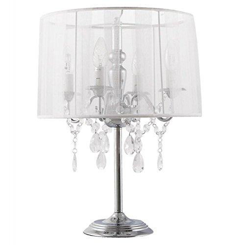 Casa Padrino Barock Hockerleuchte mit Kristall-Deco, 4-Flammig, Weiß, nostalgische Tischleuchte, Leuchte Lampe - 4 Lampe Kristall