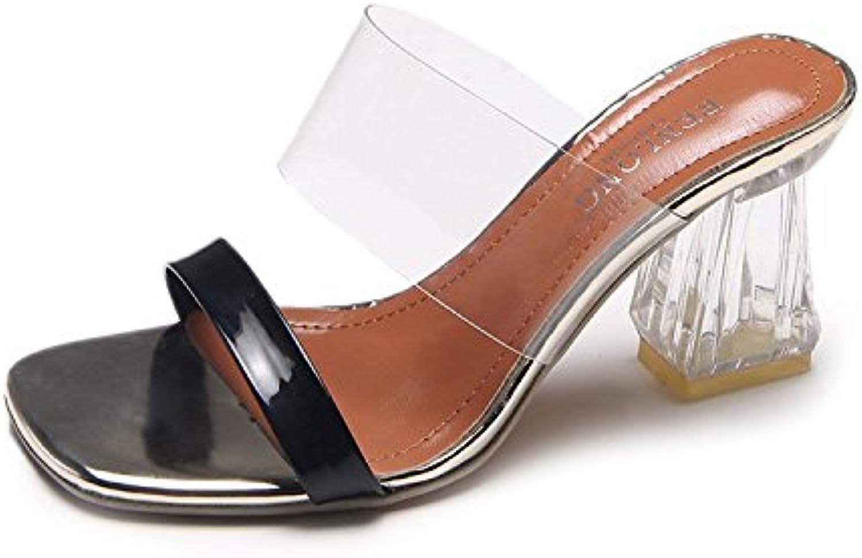 Donyyyy Los Tacones Altos, Frío Zapatillas, Zapatos de Tacón Alto Simple, Transparente Zapatillas,Negro,39 -