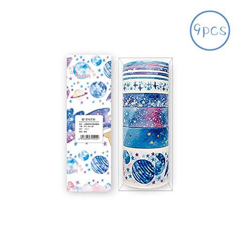 Rocita 9 Stück/Set Farbiges Tape Washi Tape Scrapbooking Dekoration DIY Basteln Cute Cartoon Tape Sticker Papier Punkte für DIY Kunst und Handwerk Raumdekoration (Sterne)