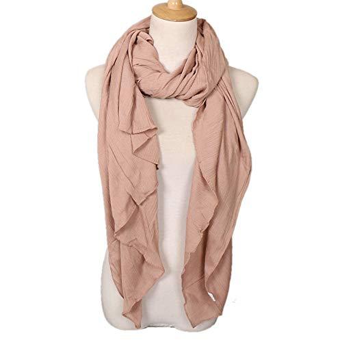 HNSSZPTB Faltiger Turban-Rayon-Schal für Damen Faltiger Schal Einfarbiger Schal Groß -