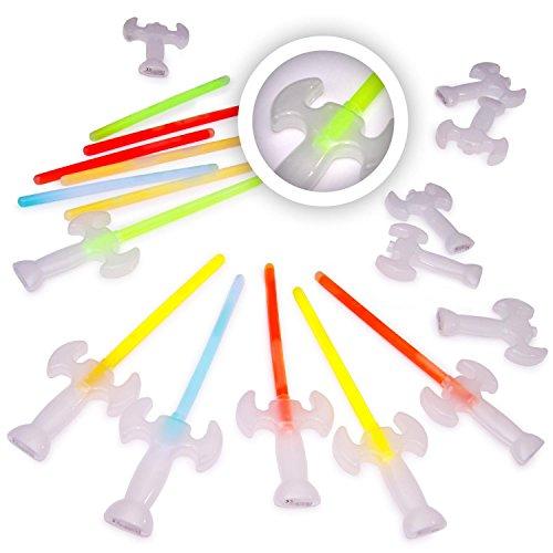 12 Leuchtschwerter/Knicklicht-Schwerter KNIXS im 6-Farbmix | rot, grün, blau, gelb, weiß, orange | wiedernachfüll- und wiederverwendbar | geprüfte Markenqualität