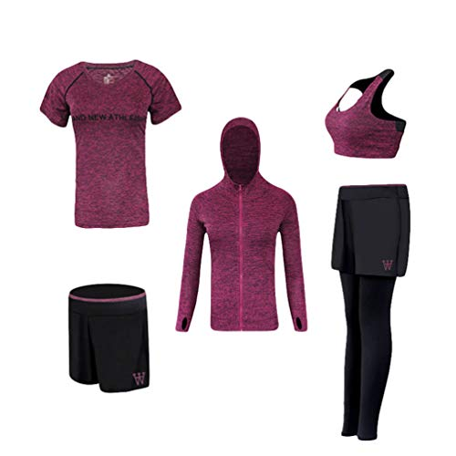 Xinwcang Damen Trainingsanzug 5 Stück Set Atmungsaktiv Stretch-Fit Yoga Trainingsanzug Set Schnell trocknend Gym Fitness Kleidung Set Lila L -