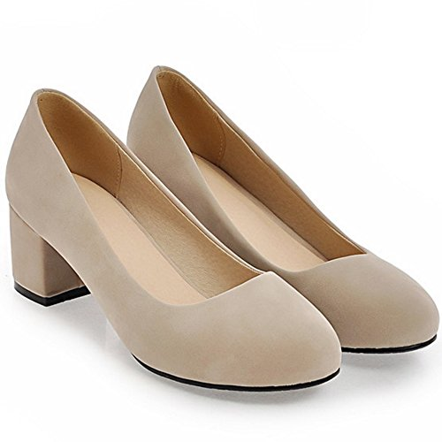 COOLCEPT Damen Mode-Event Slip On Pumps Mitte Blockabsatz Party Shoes Apricot