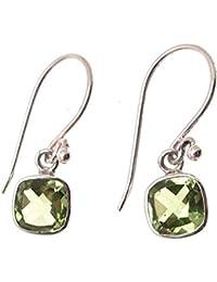 Nenalina silver handmade earrings with genuine peridot gemstone 222999-013