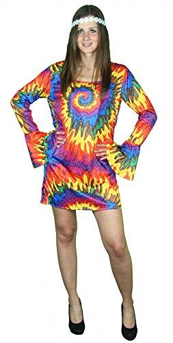 Foxxeo 40071 | cooles Batikkleid 70er 80er Jahre Hippie Kleid für Damen Karneval Fasching Party Gr. S - XXL, Größe:L
