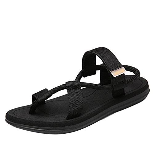 Yiiquanan sandali sportivi scarpe da spiaggia uomo casual passeggio infradito outdoor ciabatte flip flops (nero, asia 44)
