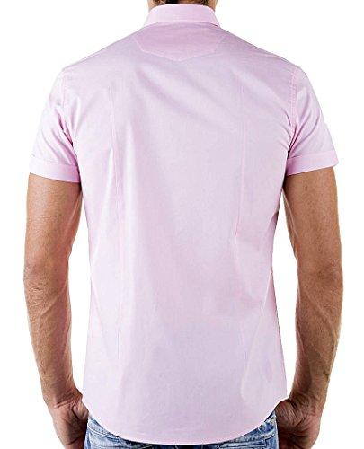 Redbridge Cipo & Baxx Slim Fit Kurzarm Hemd Business Hochzeit Freizeit Pink - Rosa