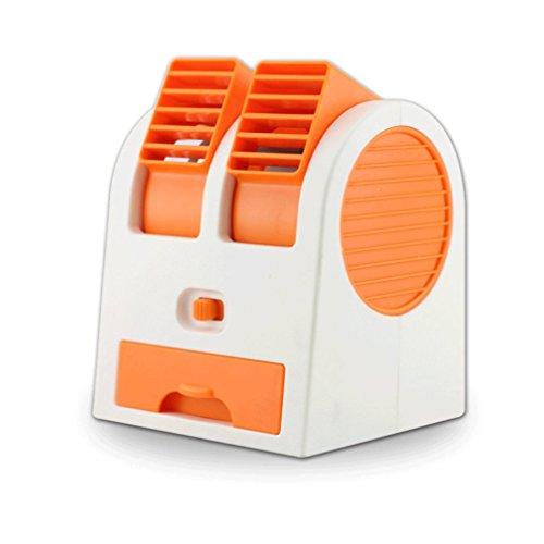 Magic Mini Hand schaufelloser Cool Fan Klimaanlage Wasser Kühler Tisch Schreibtisch Desktop Elektrischer Lüfter wiederaufladbar USB batteriebetrieben für Home Office Studenten - Orange Orange Wasser-kühler
