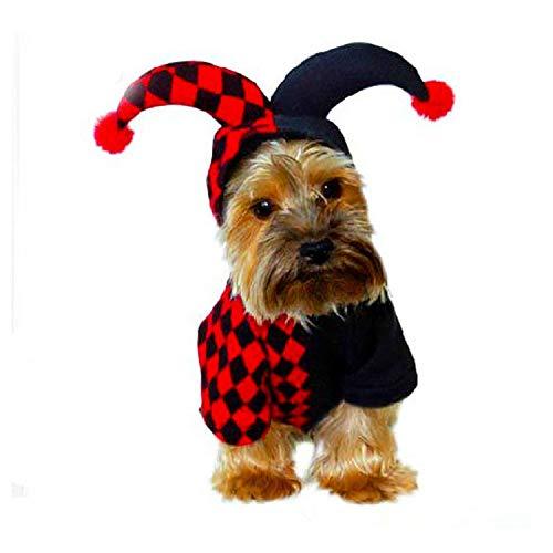 Monster töten Hund Halloween Clown Kostüm, Halloween Cosplay Hund Kostüm, niedlichen Clown Pet Kostüm, Hund warmen Hoodie (schwarz + rot) (XL)