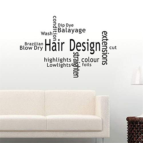 Crjzty Hair Design Salon Aufkleber Beauty Salon Aufkleber Haarschnitt Poster Vinyl Wandkunst Aufkleber Dekor Fenster Dekoration Wandbild Schwarz 112x174cm