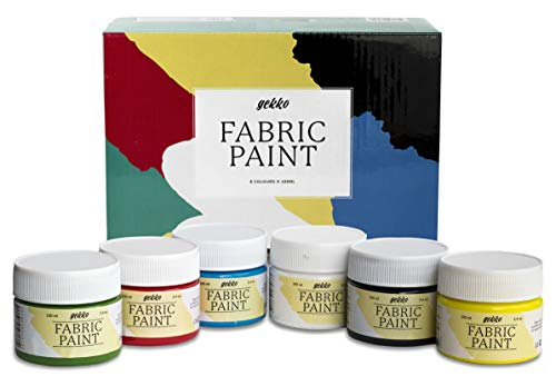 Pintura para Tela y Ropa Calidad Profesional Gekko – Set 6 Colores x 100ml – Pack de Pintura Textil Permanente con Gran Capacidad de Cobertura Ideal para toda clase de Tejidos, Camisetas, Bolsas, etc