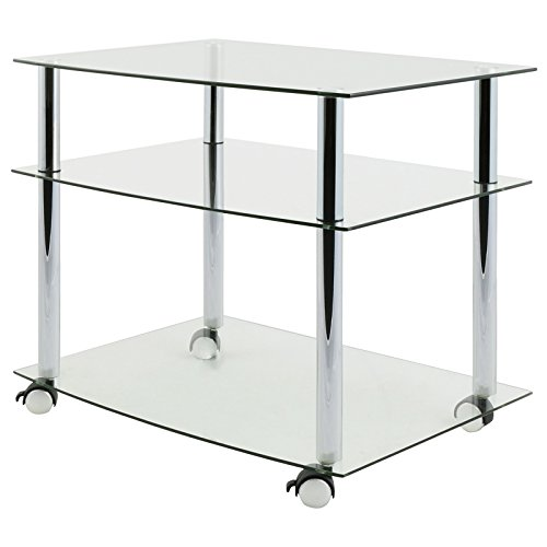 Hartleys Clear Glass Tv DVD Unit With Wheels - Mobile 3 Tier Trolley