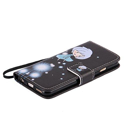 iPhone 6 Wallet Case,iPhone 6S Coque - Felfy Flip-style Magnetic Closure Étui Portefeuille Housse Book Style Full Body Coloré Peint Motif Dragonne Portefeuille Lanyard PU Cuir Coque Etui(Minou) + 1 x  Pissenlit Fille