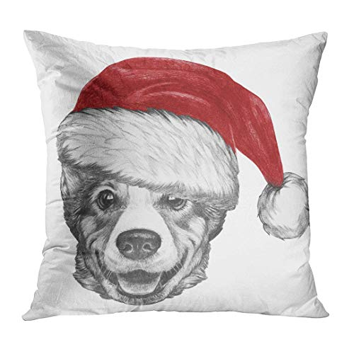 Throw Pillow Cover Cute Adorable Portrait of Pembroke Welsh Corgi with Santa Hat Hand Drawn Red Animal Decorative Pillow Case Home Decor Square 18x18 Inches Pillowcase