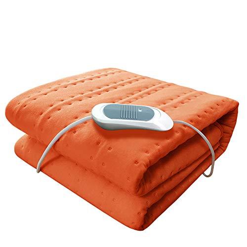 Warmth Supplies Heizdecke Single 150Cm * 75Cm 45-55 Grad DREI-Gang-Temperatureinstellung 8 Stunden Automatische Abschaltung Überhitzung Abschalten Waschbar,Orange